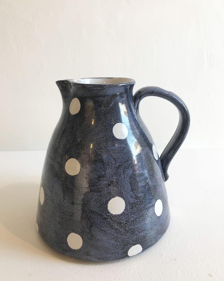 Tydd Pottery, White Spots on Blue, Large Jug
