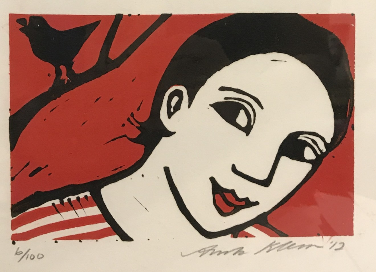 Anita Klein, Bird Singing (framed)