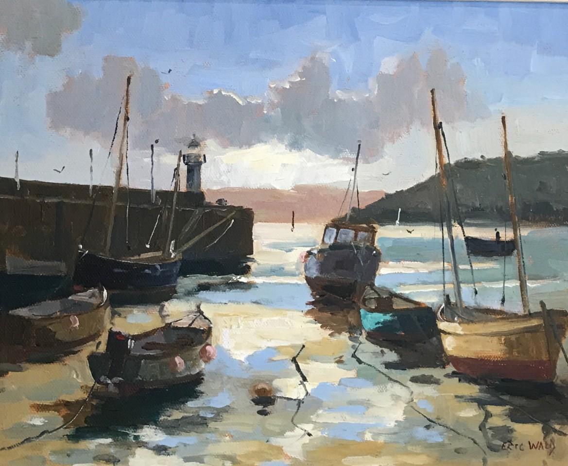 Eric Ward (b.1945), Cornish harbour at low tide