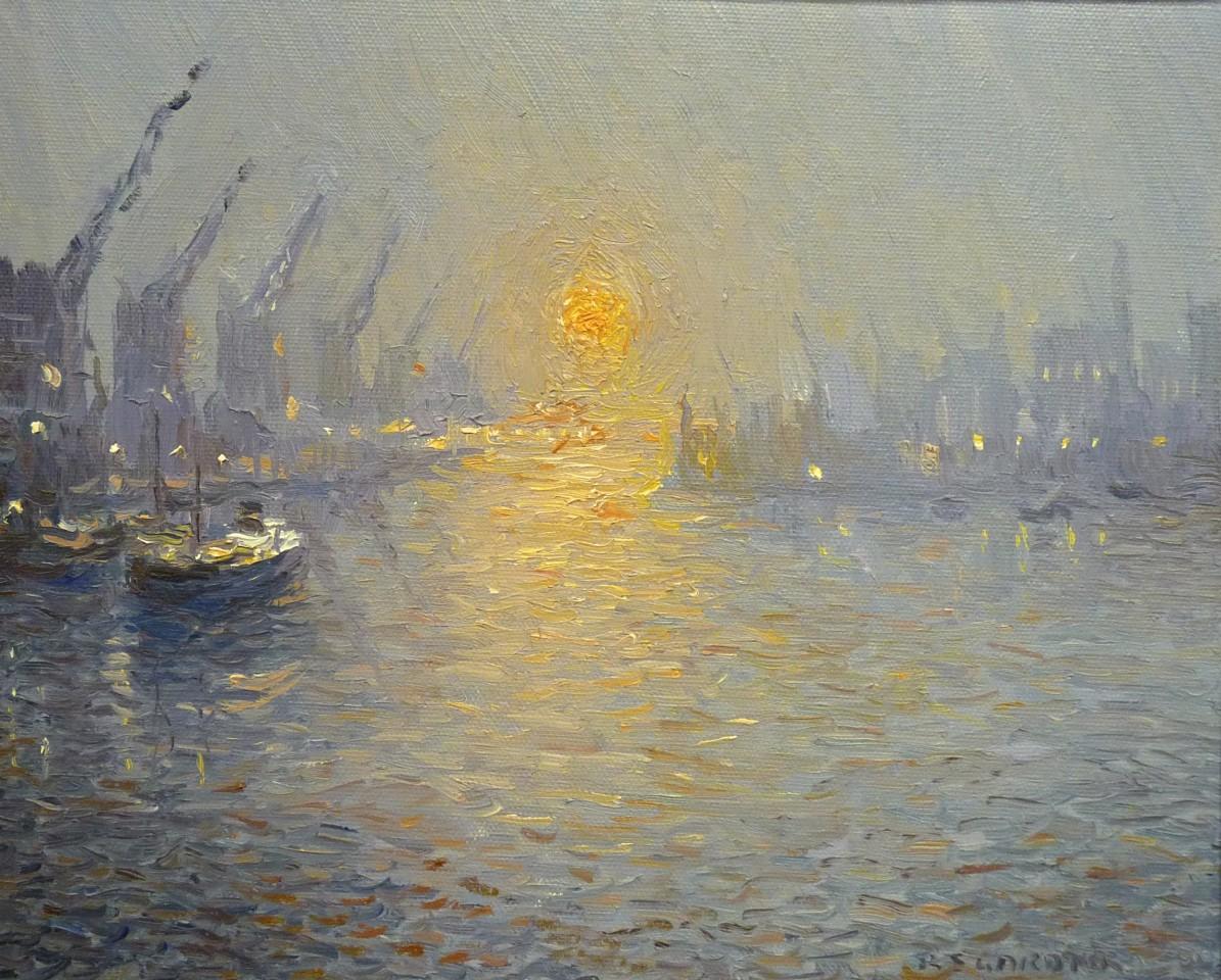 Reg Gardiner, Winter Sunset, North Bay, Trafford Wharf, Manchester