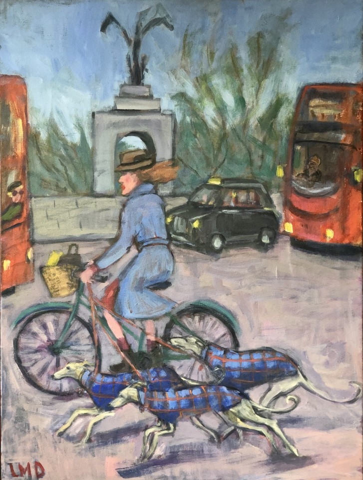 Lucy Dickens, Cyclist and Whippets, Hyde Park Corner