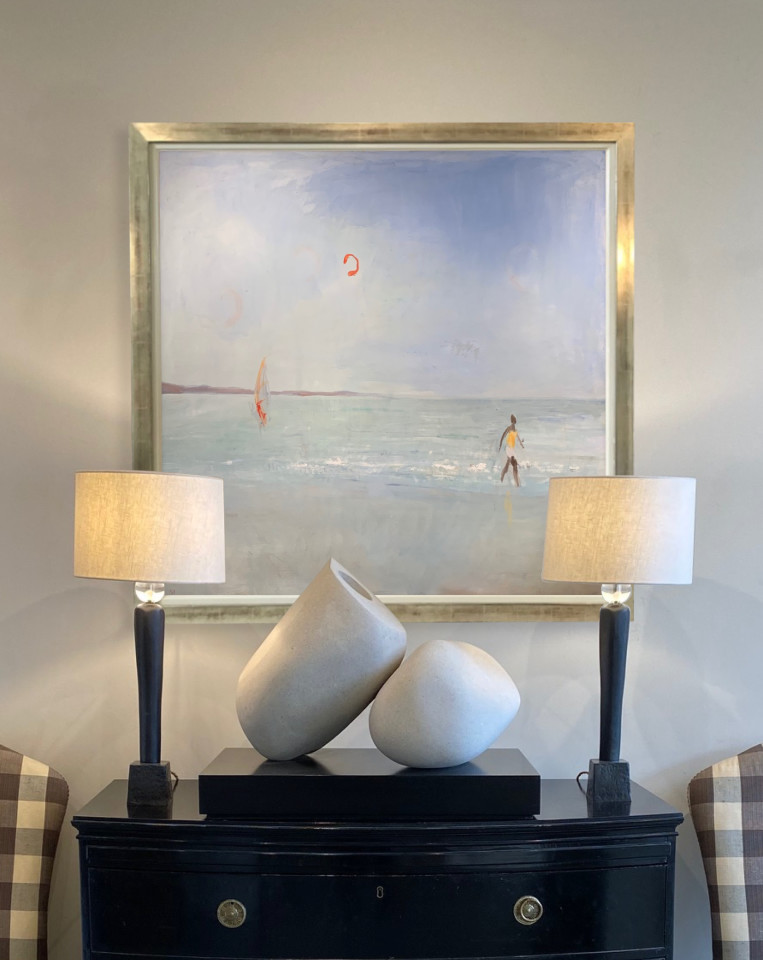 Ann Shrager, Windsurfer, Kite and Man by the Sea (London Gallery)