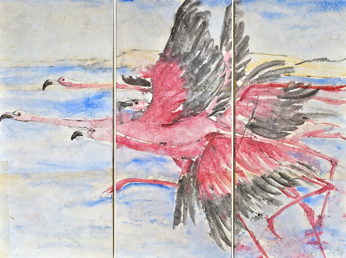 Christine Seifert, Flamingos Triptych (Unframed) (Hungerford Gallery)