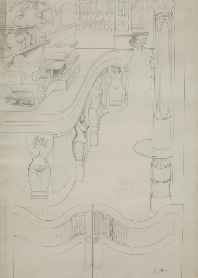Edward Burra, Cafe Bar with Caryatids, 1930-31