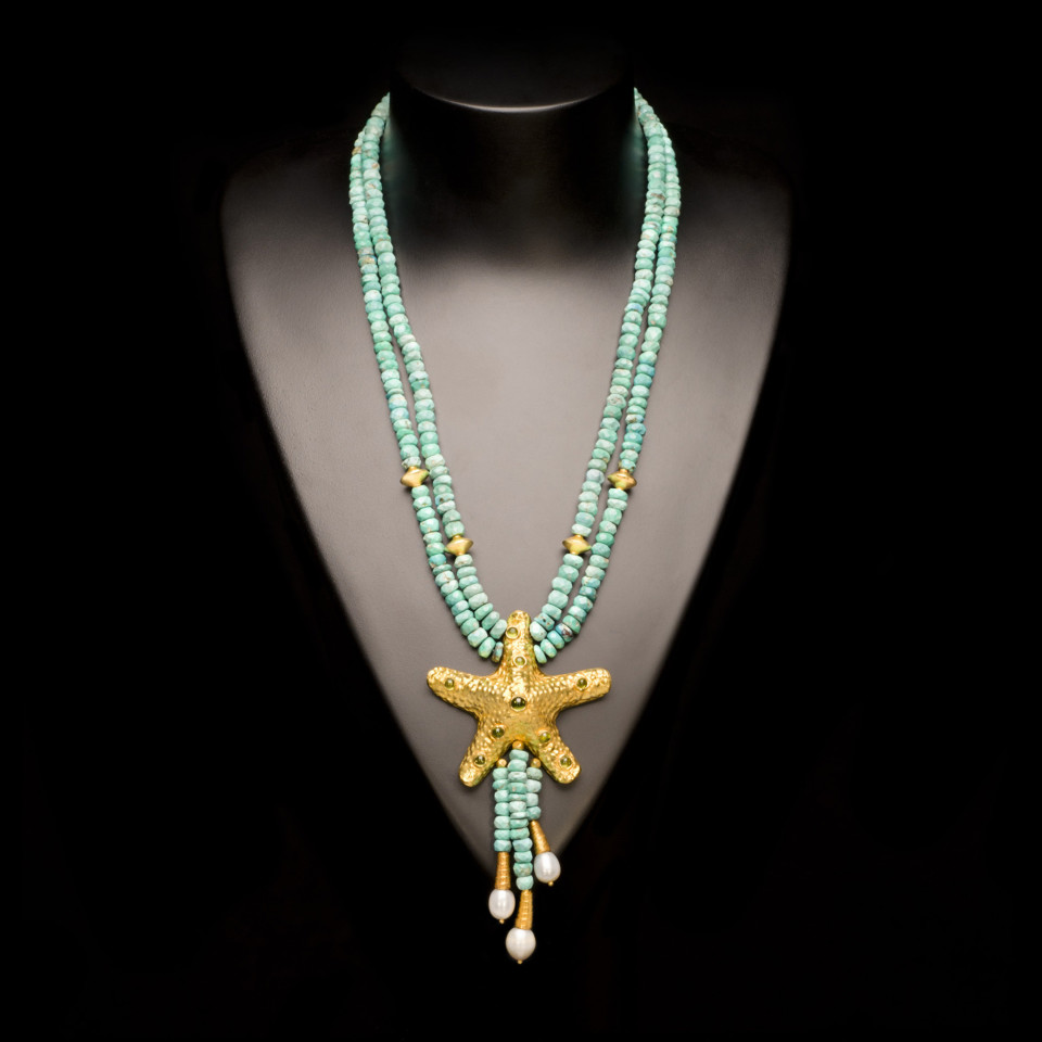 Turquoise and Peridot Starfish Necklace