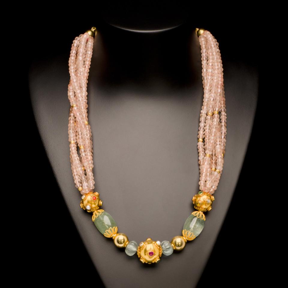 Rose Quartz, Green Beryl, Aquamarine and Gold Bead Necklace