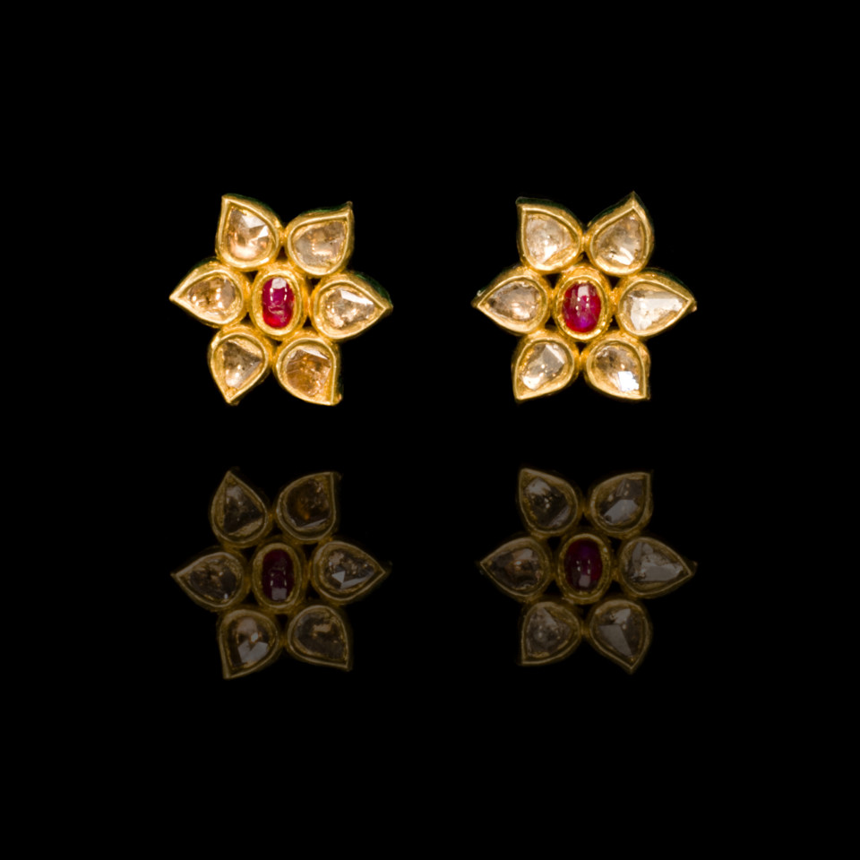 Mughal Diamond and natural spinel Earrings