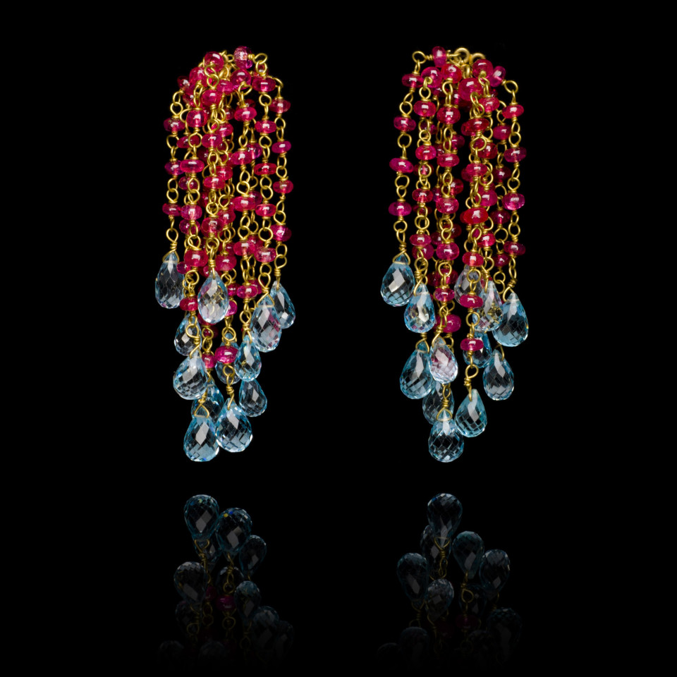 Spinel and Topaz Waterfall Earrings