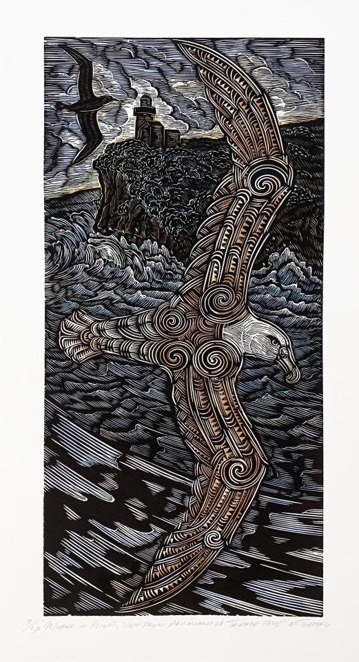 Michel Tuffery, Moana in Flight, view from Aramoana of Tairoa Head, 2018