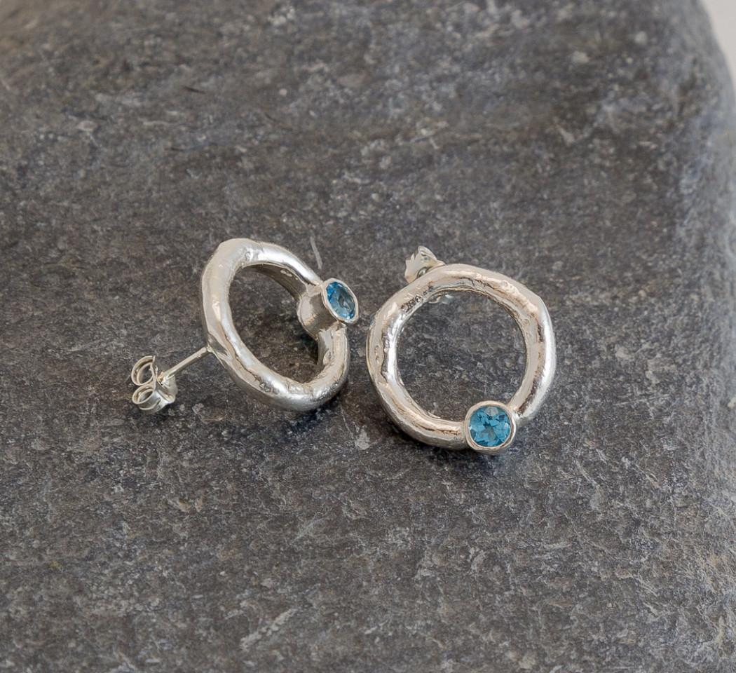 Marsha Drew, Rockpool Halo Stud Earrings with Swiss Blue Topaz