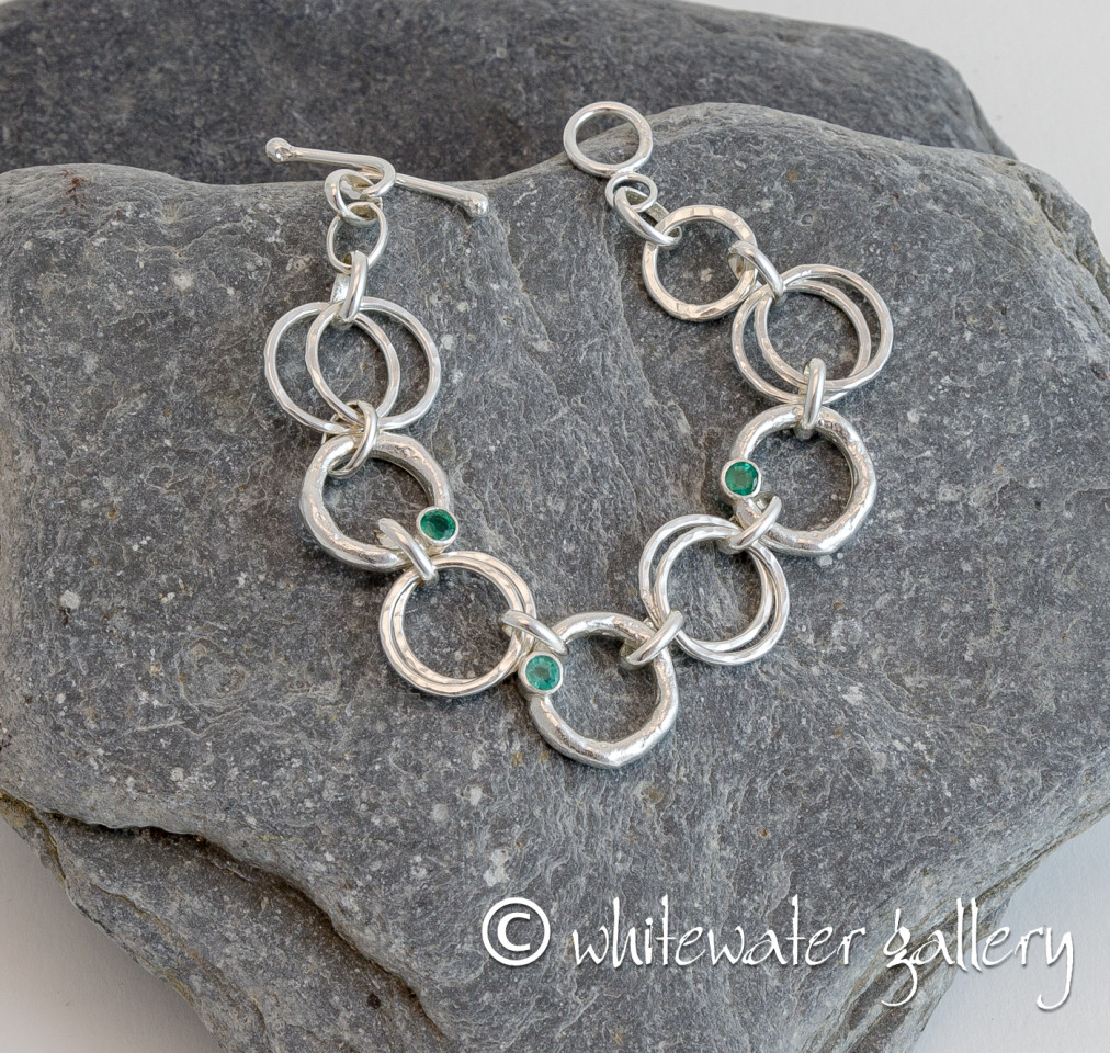 Marsha Drew, Rockpool Chain Link Bracelet with Molten and Hammered Silver Links & Three Emeralds