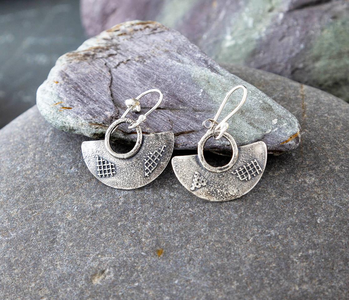 Marsha drew, Half Moon Lattice Earrings Oxidised