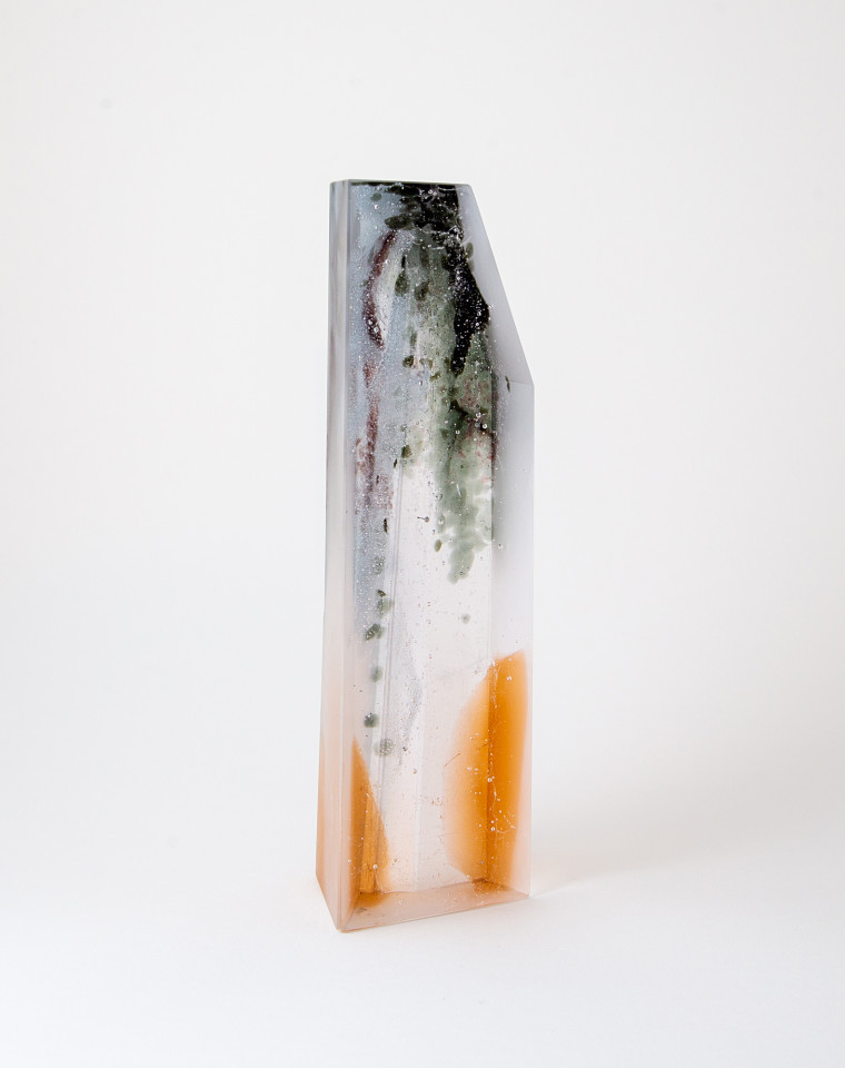 Glass sculpture cast in bullseye glass, inspired by forms and the grey and rust colours seen in urban landscapes.