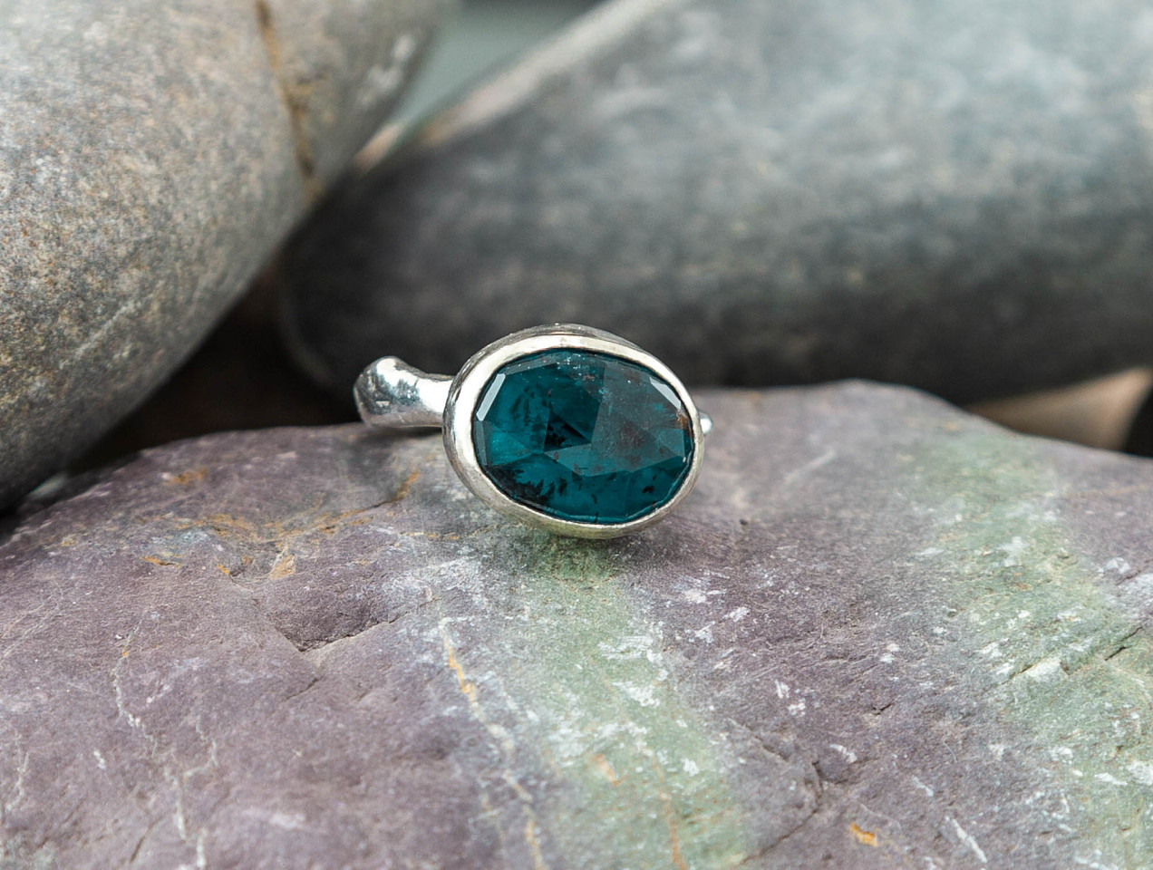 Marsha Drew, ROCKPOOL RUSTIC RING WITH XLARGE OVAL FACETED MOSS KYANITE