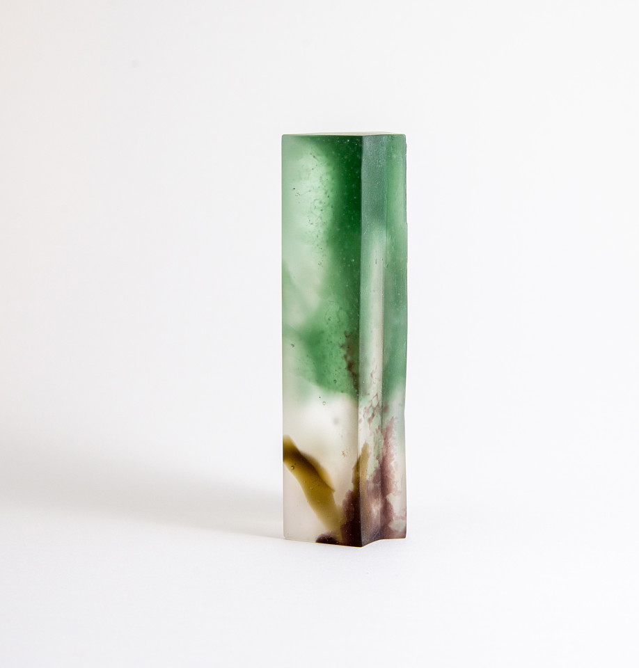 Glass sculpture in cast bullseye glass, inspired by forms and colours of the Cornish coastline. Colours are predominantly brown and sea green.