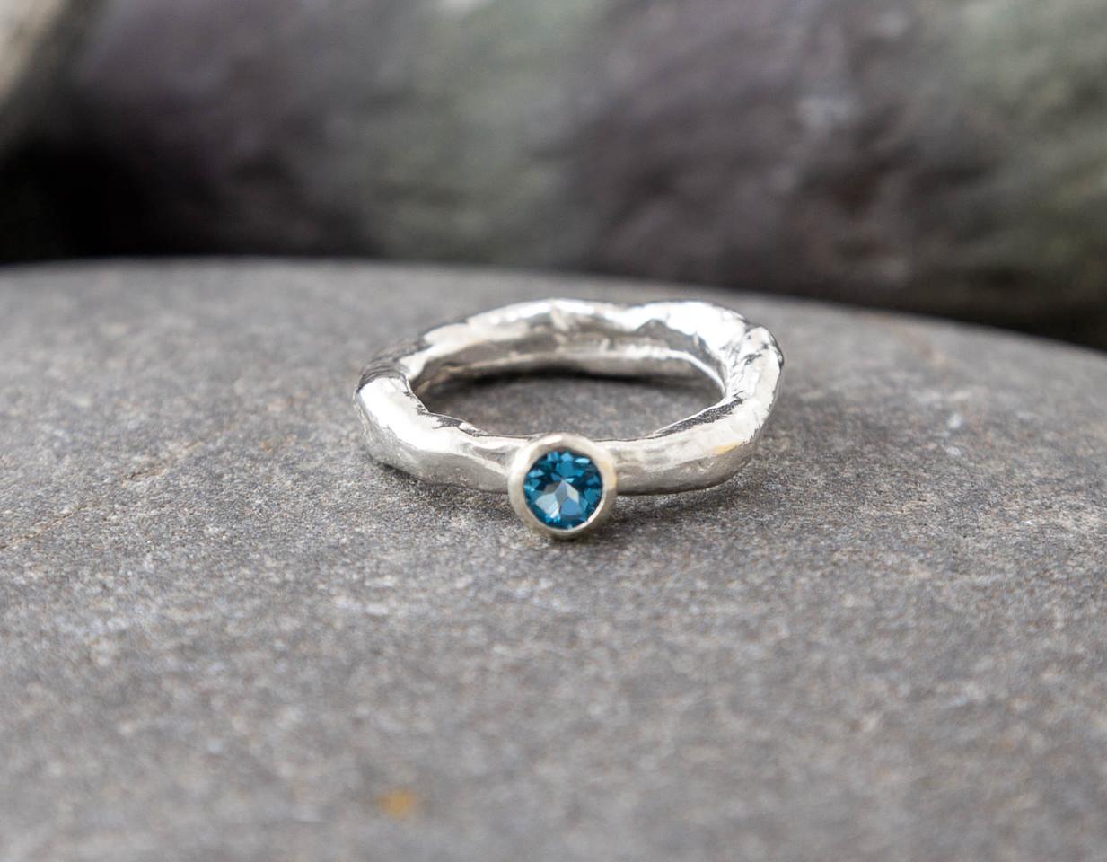 Marsha Drew, Rockpool Rustic Ring with small Swiss Blue Topaz