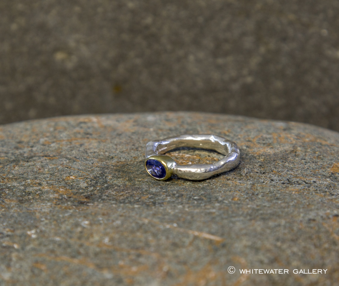 Marsha Drew, Rockpool Rustic Ring with Oval Tanzanite set in 18k Gold setting