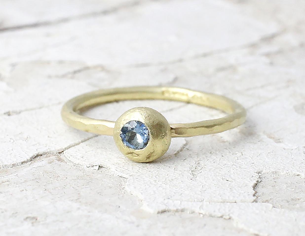 Marsha Drew, Slim Hammered Nugget Ring with Aquamarine