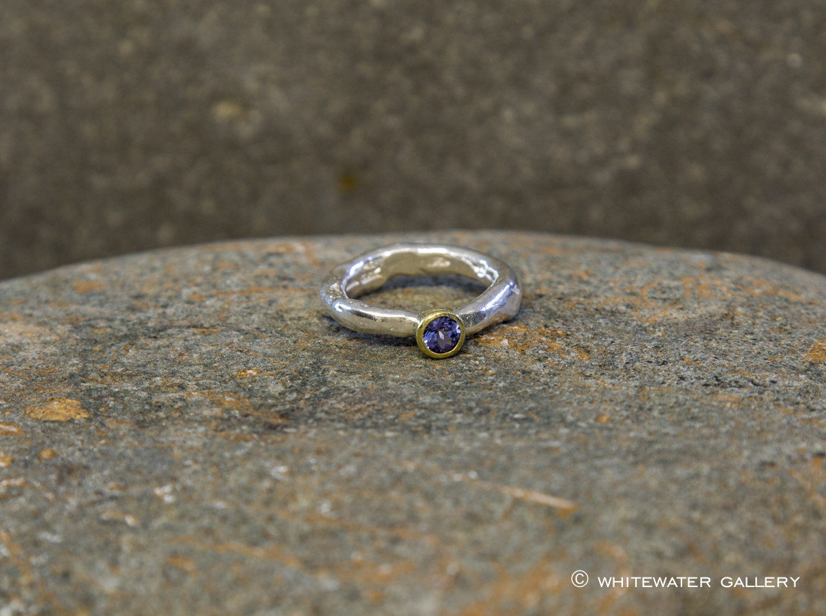 Marsha Drew, Rockpool Rustic Ring with Tanzanite in 18k gold setting