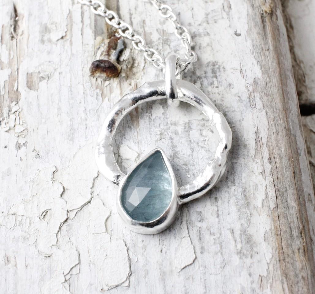 Marsha Drew, Halo Pendant, Teardrop Faceted Aquamarine