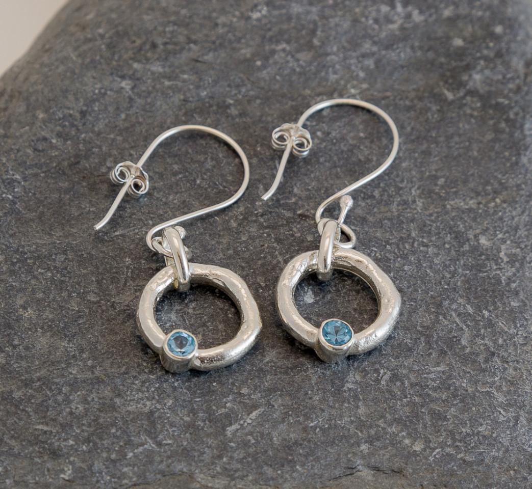 Marsha Drew, Rockpool Halo Drop Earrings with Swiss Blue Topaz