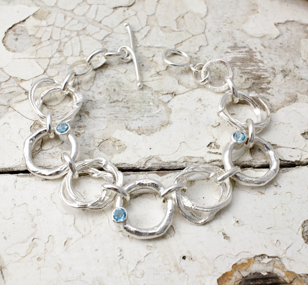 Marsha Drew, Rockpool Chain Link Bracelet with Hammered and Molten Silver Links and three Swiss-Blue Topaz Stones