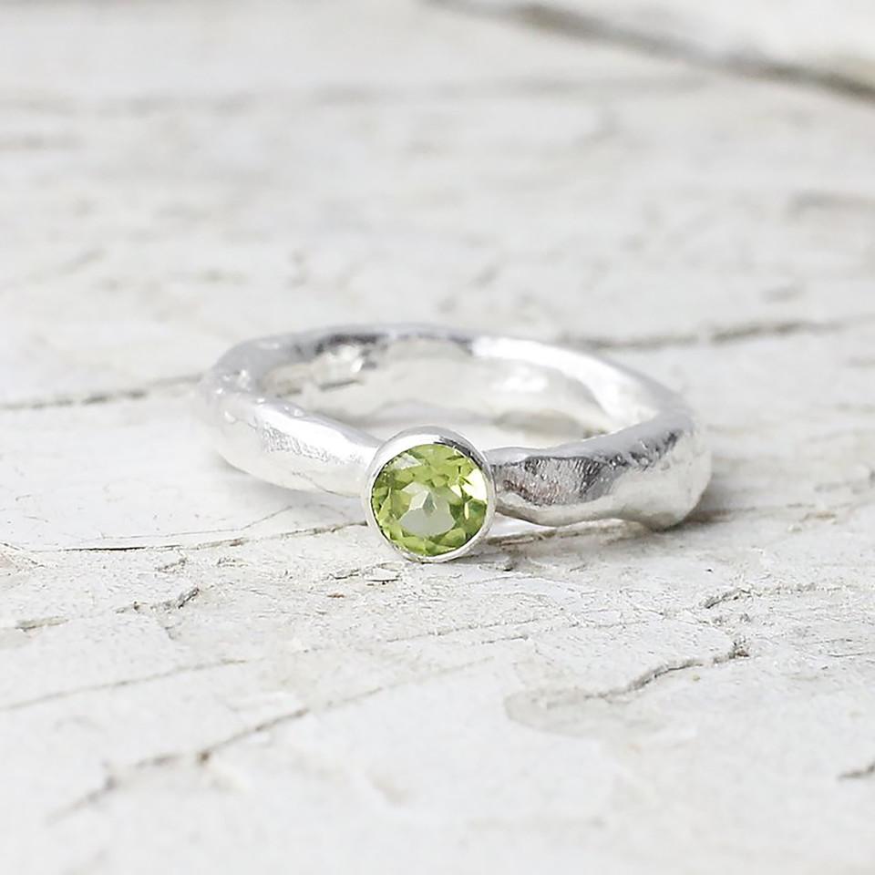 Marsha Drew, Rockpool Rustic Ring with Small Peridot