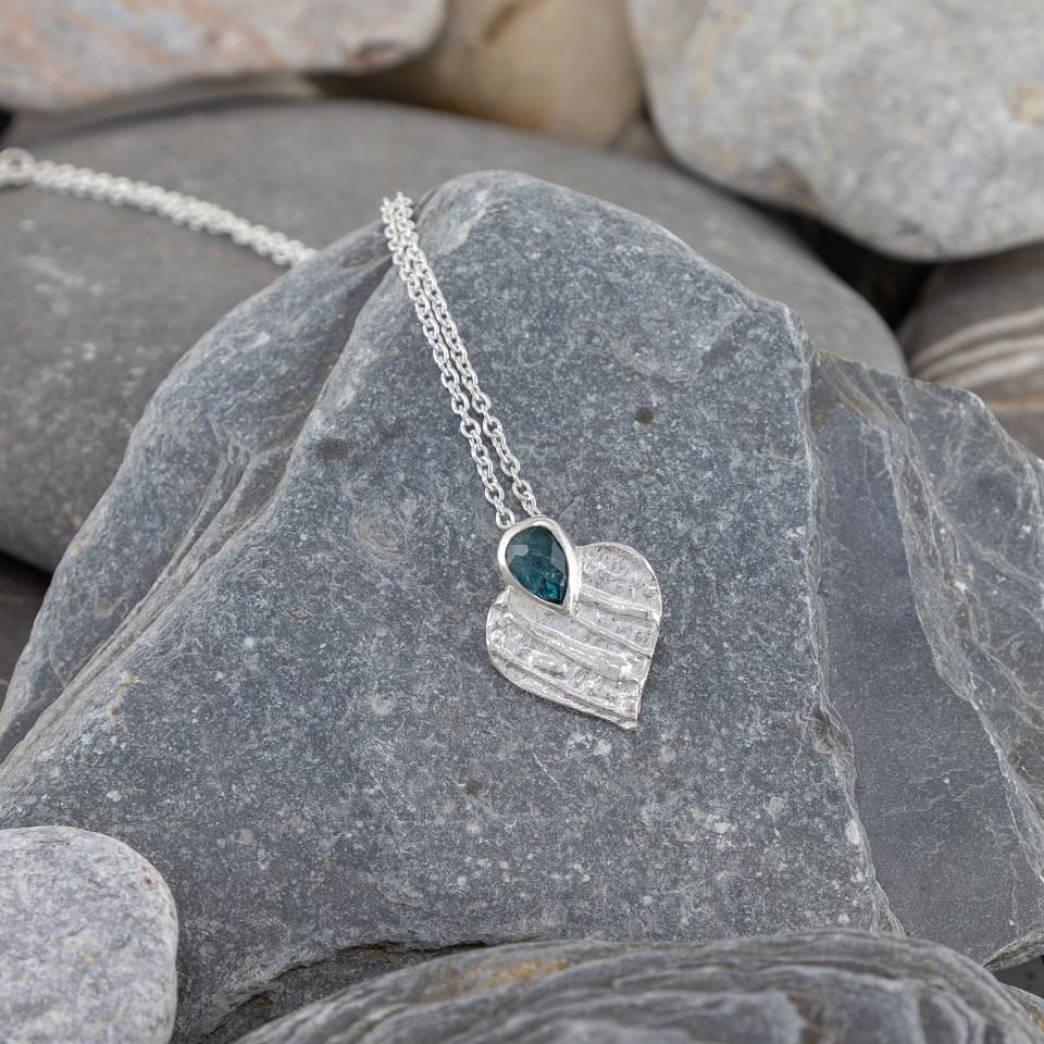Marsha Drew, Strata Heart Pendant with Blue Tourmaline