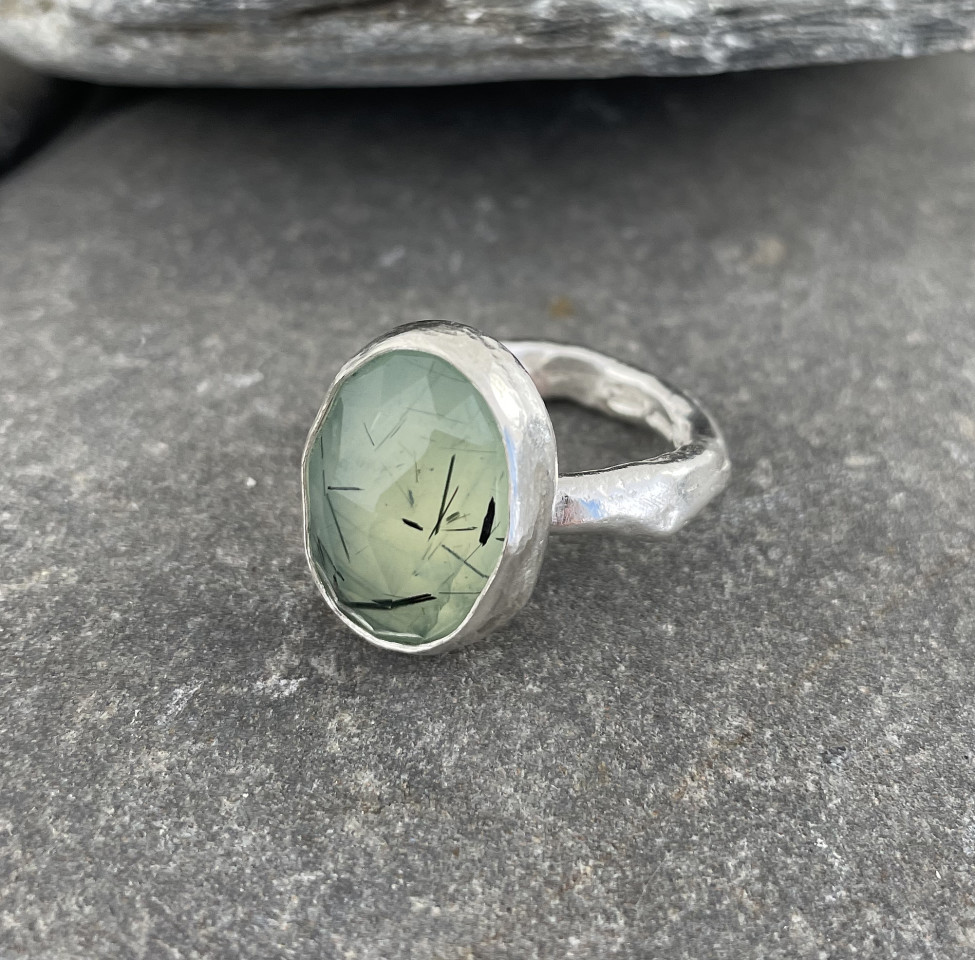 Marsha Drew, Rockpool Rustic Ring with Oval Faceted Prehnite