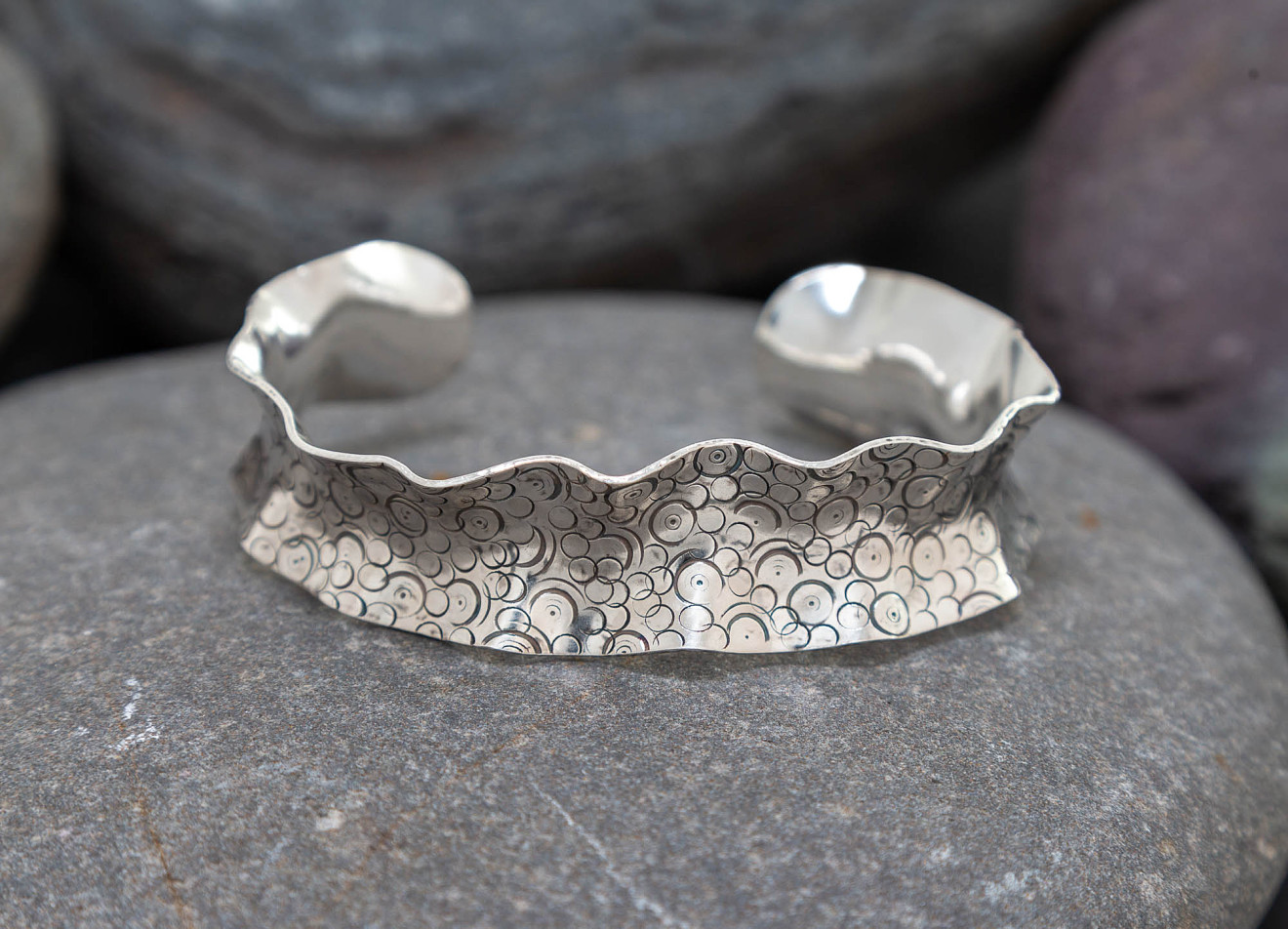 Marsha Drew, Wavy Oxidised Bubble Cuff, Wide