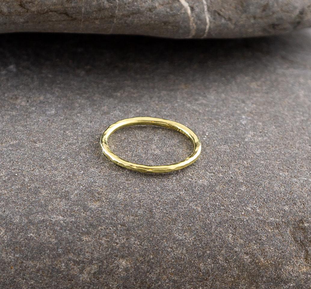 Marsha Drew, Slim Hammered Gold Ring