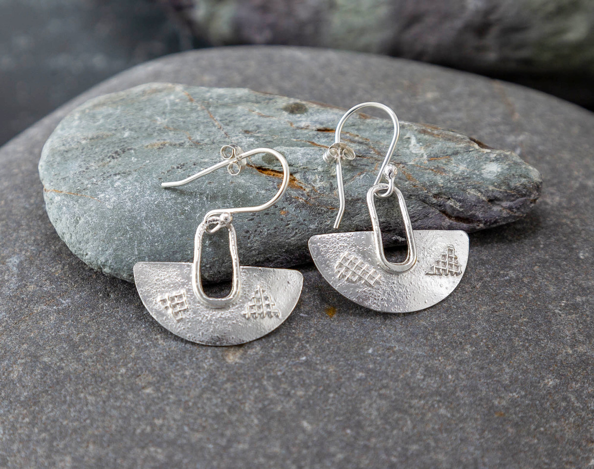 Marsha drew, Half Moon Lattice Earrings