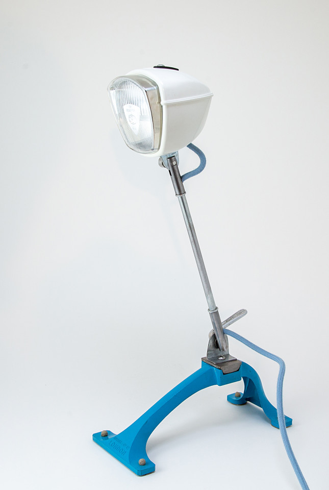 Upcycled vintage Honda Scooter table lamp with mid century kitchen appliance base.