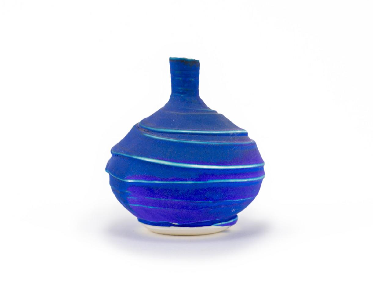 Hugh West, Small Textured Bottle Vase Blue