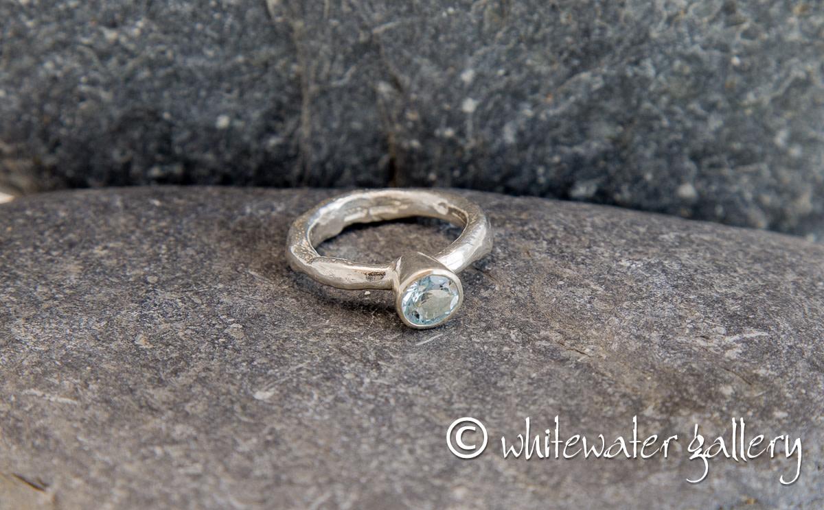 Marsha Drew, Rockpool Rustic Ring with large Aquamarine