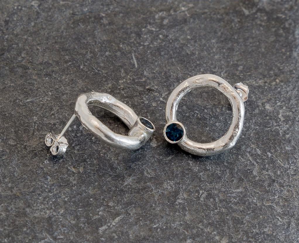 Marsha Drew, Rockpool Halo Stud Earrings with London Blue Topaz