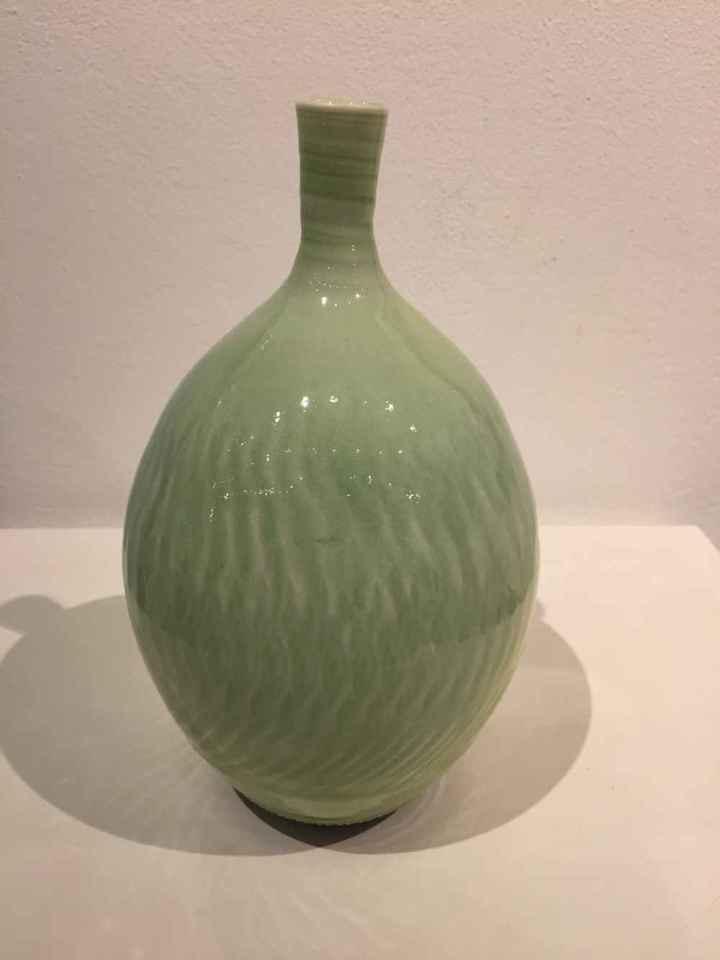 Hugh West, Bottle Vase Green Gloss Glaze