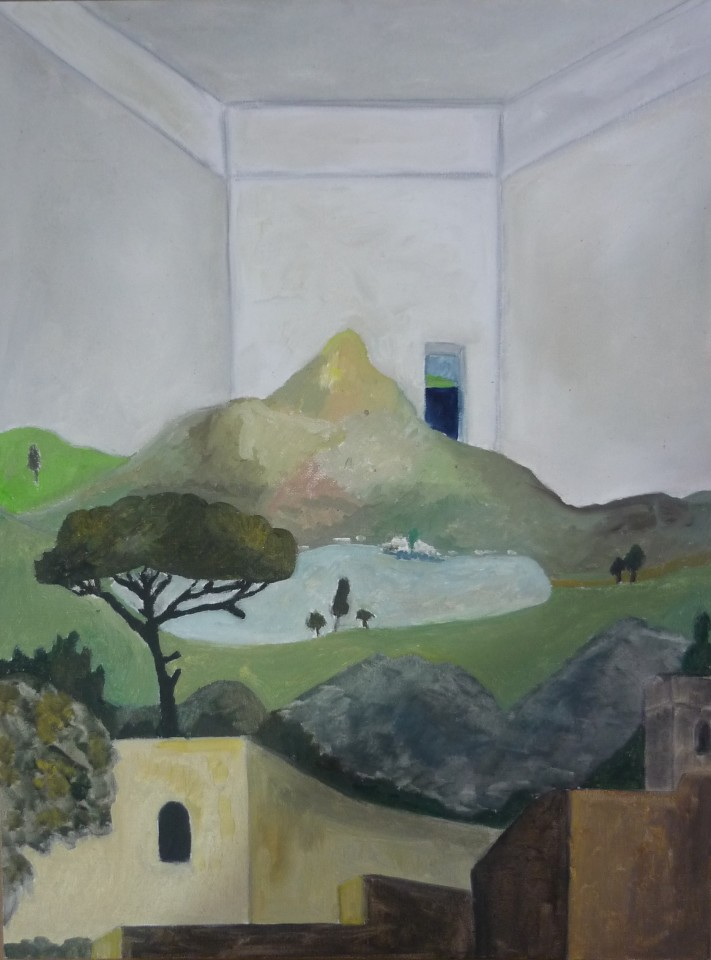 Emrys Williams, Interior with Walls of a Town and a Mountain