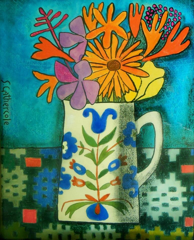 Susan Gathercole, Folk Jug and Garden Flowers
