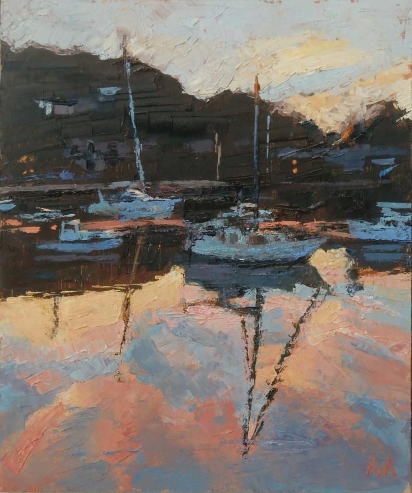 Anne Aspinall, Yachts at Sunset, Porthmadog