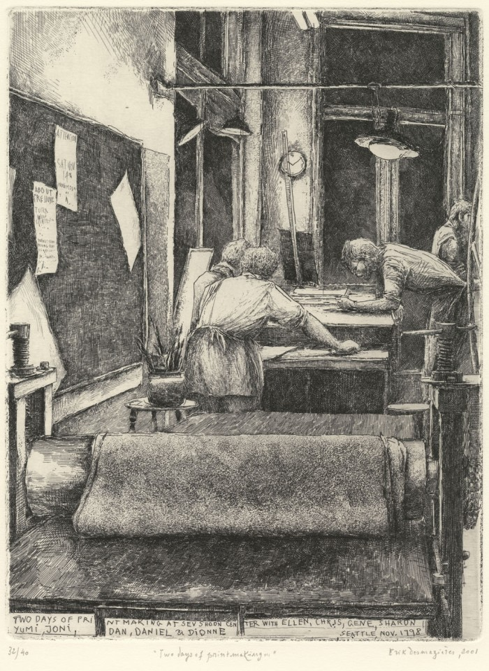 Érik Desmazières, Two days of printmaking in Seattle, 1998-2001