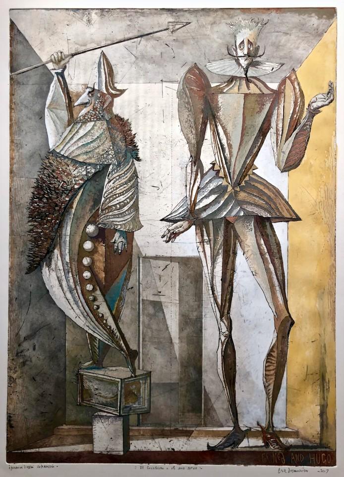 Érik Desmazières, Il Cavaliere e il suo servo (œuvre rehaussée), 1989, 2007 et 2010