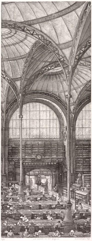 Érik Desmazières, La Salle Labrouste, côté Nord, fragment, 2013