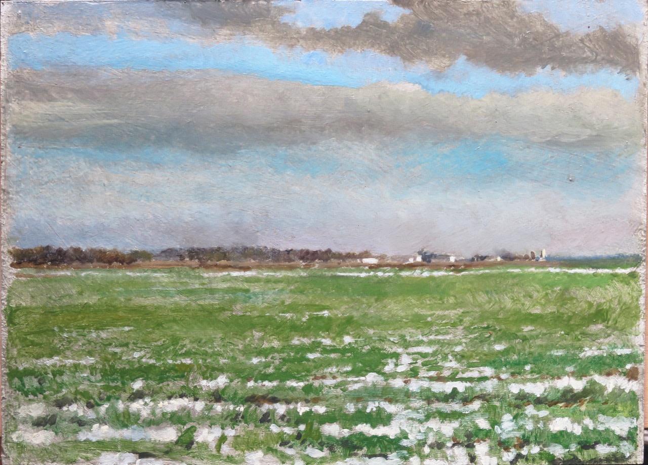 Charles-Élie Delprat, La Renauderie, plaines en hiver, 2018