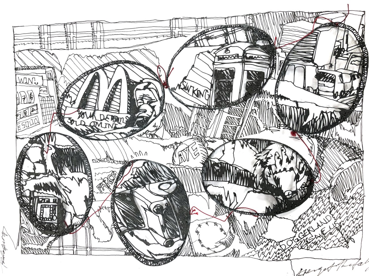 Jonathan Boyd  Illustrations from the Doggerland, 2019  Necklace  Silver, silk, box, paper and ink  30 x 20 x 5 cm