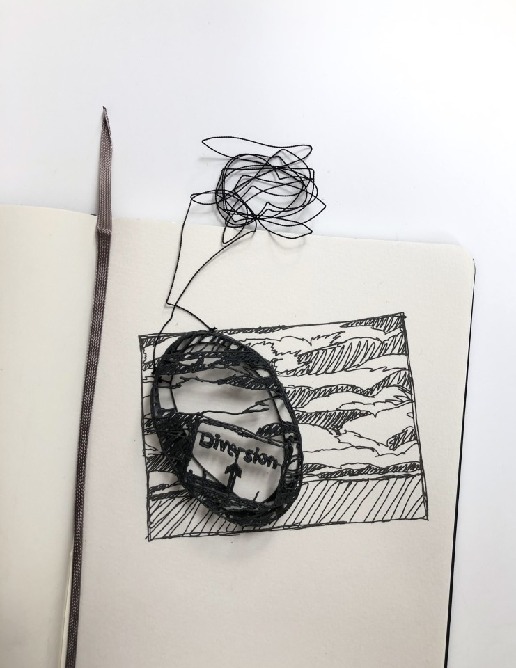 Jonathan Boyd  Diversion, 2019  Pendant  Silver, lacquer, moleskin and ink  20 x 15 x 2 cm
