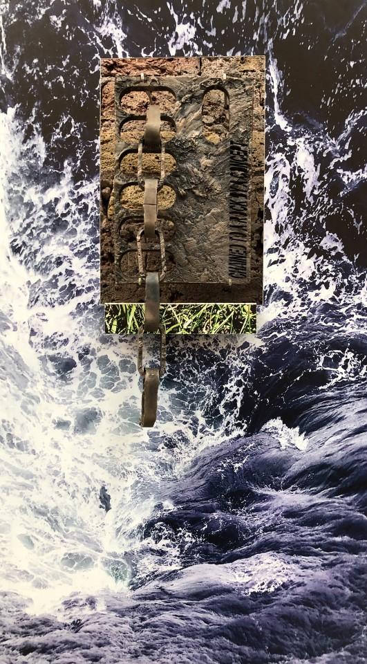 Jonathan Boyd  Out at Sea #5, 2019  Cast bronze and UV printed aluminium  90 x 50 x 6 cm
