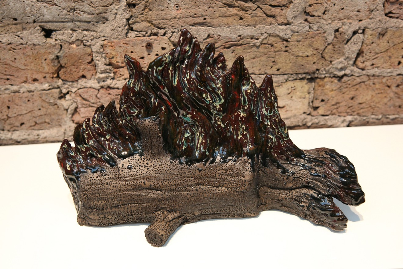 Laura Ford  Burning Log  Glazed Ceramic  27 x 41 x 15 cm