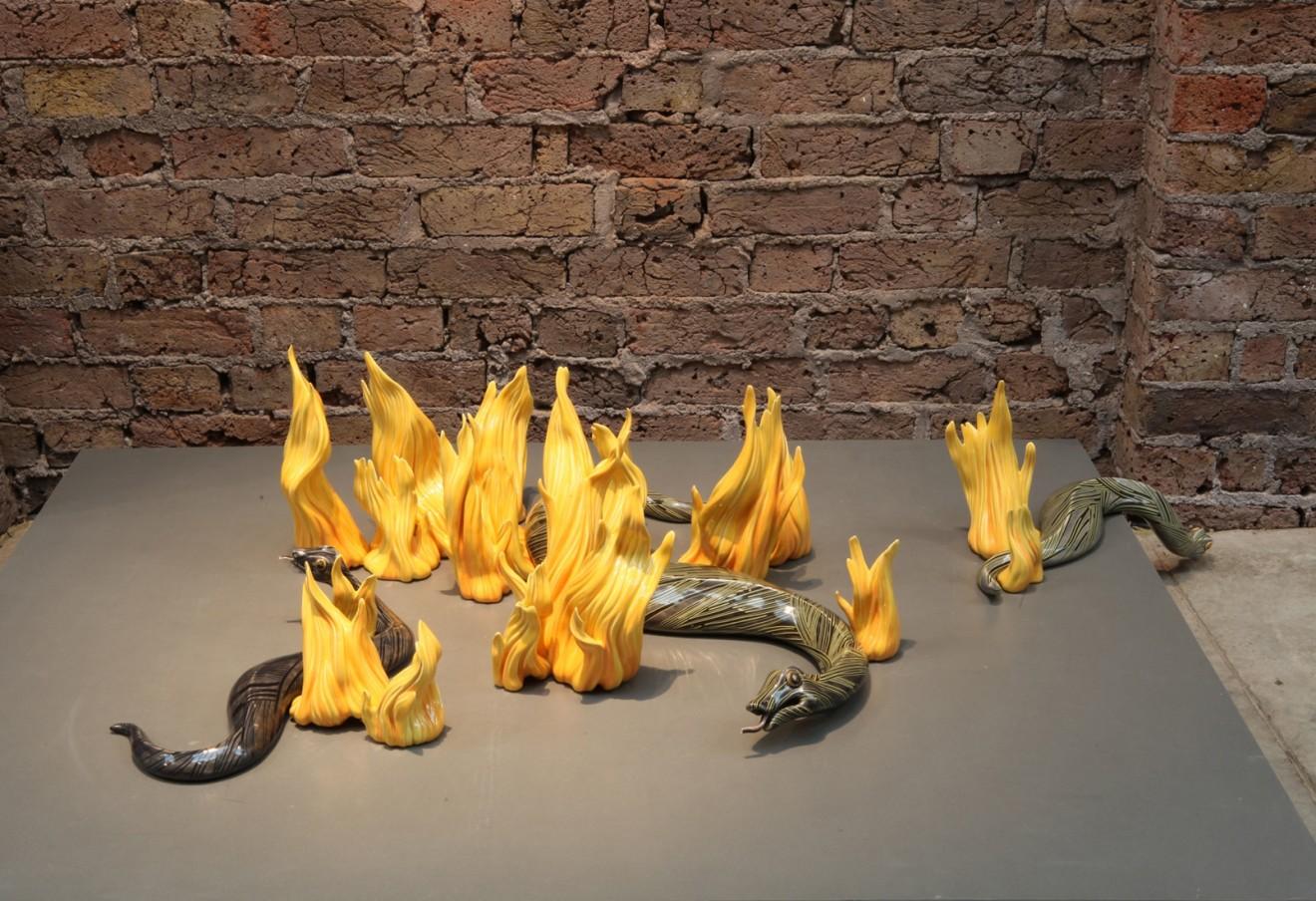 Malene Hartmann Rasmussen  Fire Walk With Me, 2010  Glazed ceramic  35 x 50 x 100 cm