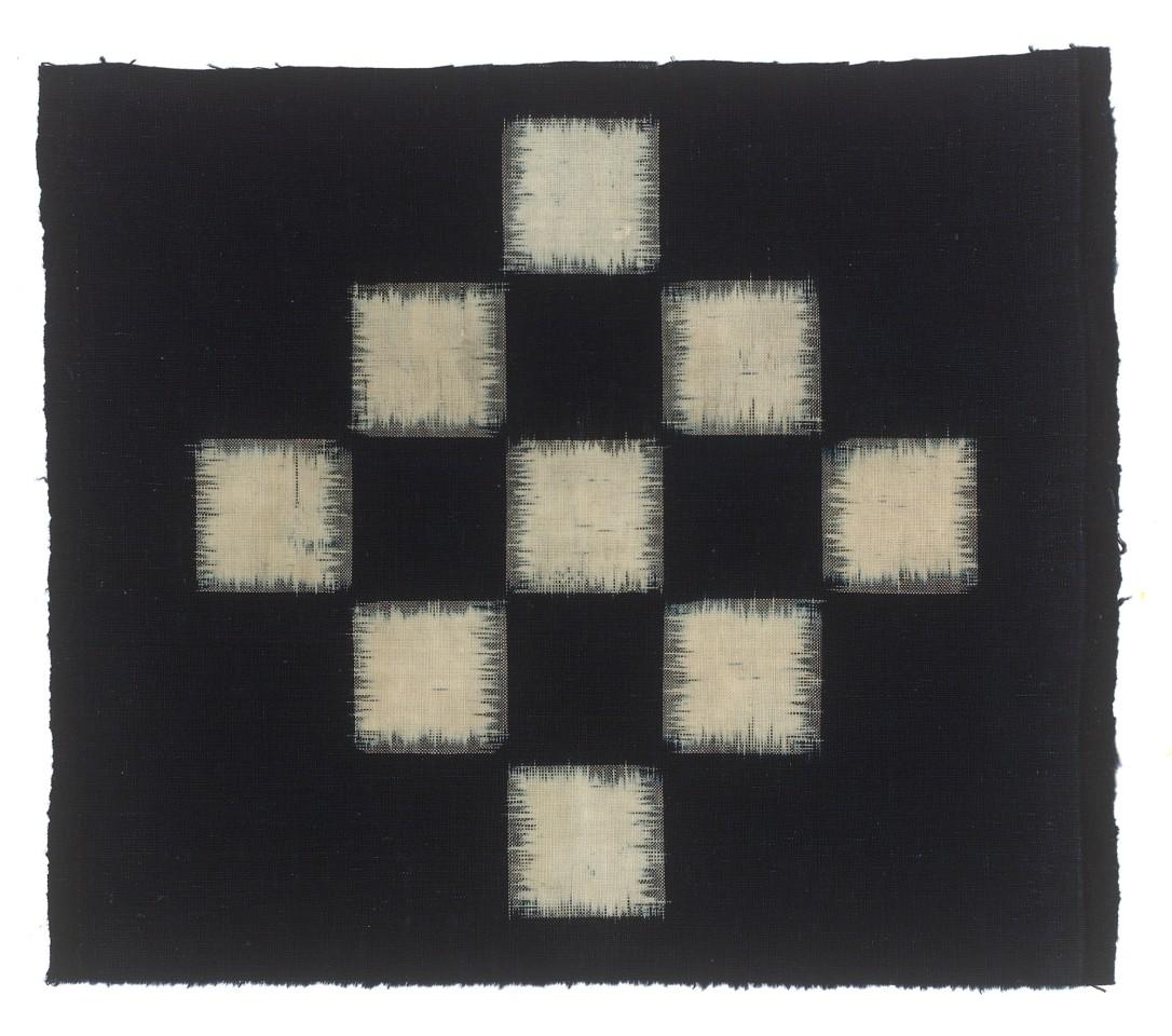 Textilien, #004100  Kasuri, Schachbrettmuster aus neun weissen Quadraten